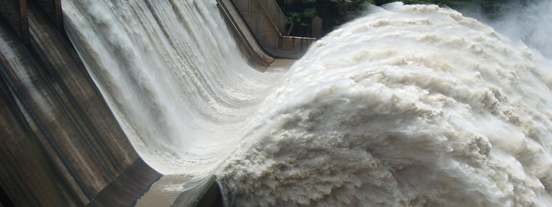Srisailam dam with gates open.